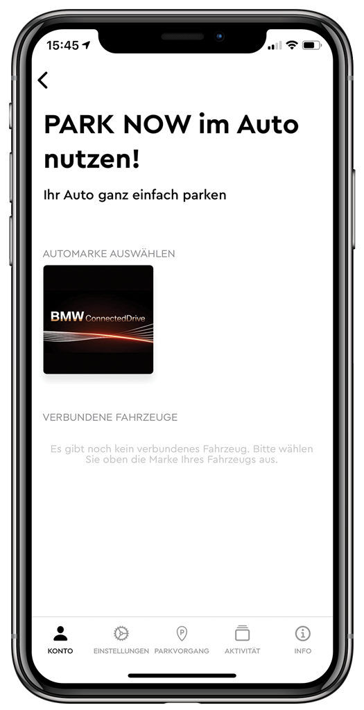 iPhone X zeigt PARK NOW im Auto nutzen. BMW connected drive