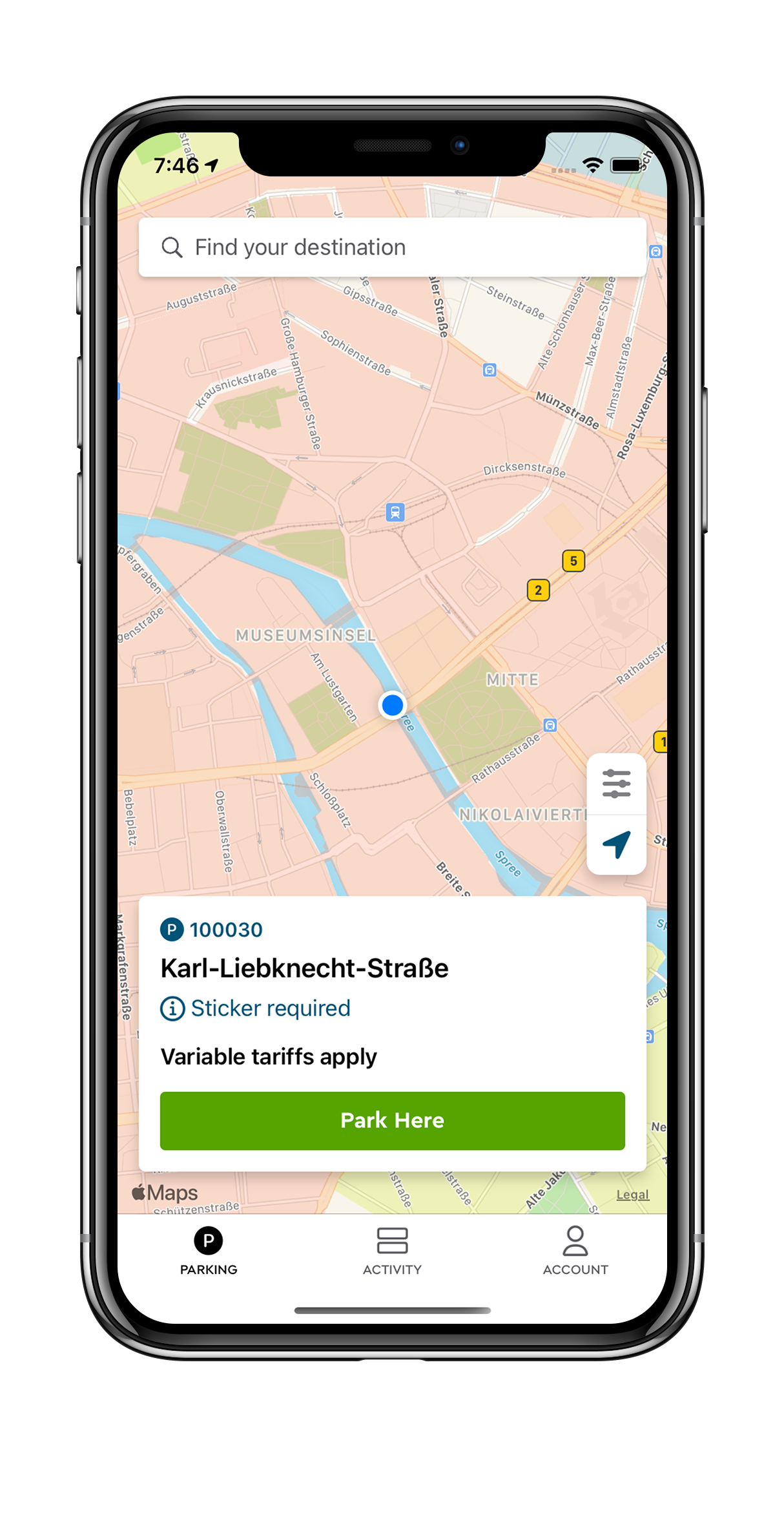 Cropped iPhone map Germany